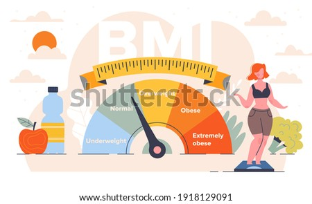 Body mass index control abstract concept. Woman and obese chart scales. Pretty young woman on diet trying to control body weight with BMI. Flat cartoon vector illustration Photo stock ©