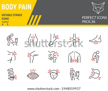 Body pain line icon set, body ache collection, vector graphics, logo illustrations, body pain vector icons, illness signs, outline pictograms, editable stroke