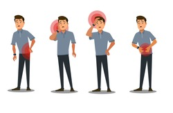 Body parts pain. Back pain, stomach pain, toothache,headache, migraine. Vector illustration in cartoon style