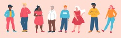 Body positive concept with a diverse group of plus size and overweight people standing in a line, colored vector illustration