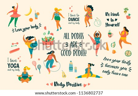 Body positive. Happy plus size girls and active healthy lifestyle. Vector illustration.