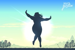 Body positive illustration. Acceptance poster. Good vibes woman. Female pride. Bright blurry sky background. Vector illustration.