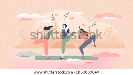 Body positive lifestyle with healthy or vitality activity tiny person concept. Wellness training for figure, shape or mind with yoga stretching, sport and physical posture practice vector illustration Foto d'archivio ©