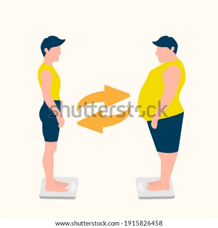 Body positive man. Vector illustration of a thin and fat woman. Girls stand on the scales. Illustration for Social media, poster, web and app. Eps 10 Сток-фото ©