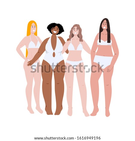 Body positive multiracial women with different high, weight and figure type. All bodies are good bodies vector concept illustration. Hand drawn flat cartoon illustration.