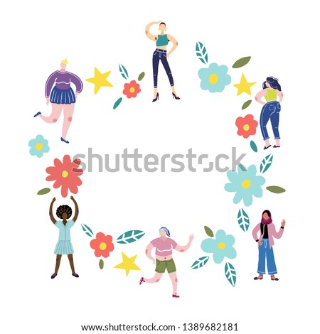 Body positivity concept. All bodies are good bodies. Vector illustration. Group of women of different races and physiques.