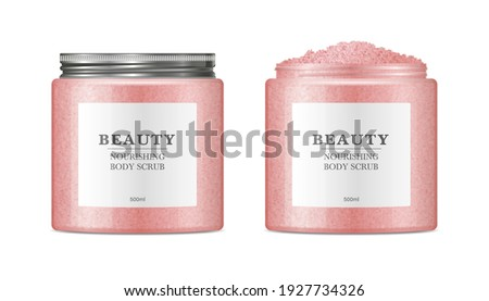 Body sugar scrub jar template. Realistic round container from transparent plastic with trendy metal aluminium cap. Skin care cosmetic product mockup isolated on white background. Foto stock ©