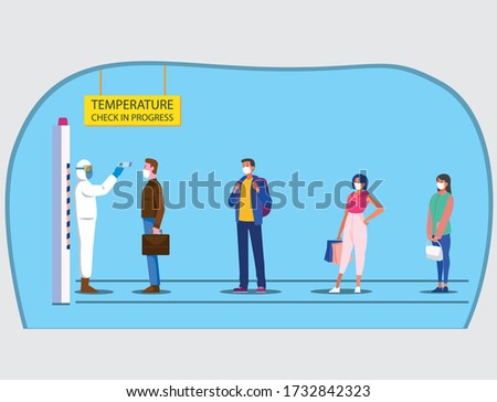 Body temperature Check in progress at office entrance vector background. Checking body temperatures in public areas and public entrance vector. People wearing face mask and waiting in queue