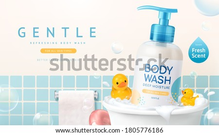Body wash ad design in 3d illustration, product bottle in bathtub with yellow ducks and bubble around in bathroom Foto stock ©