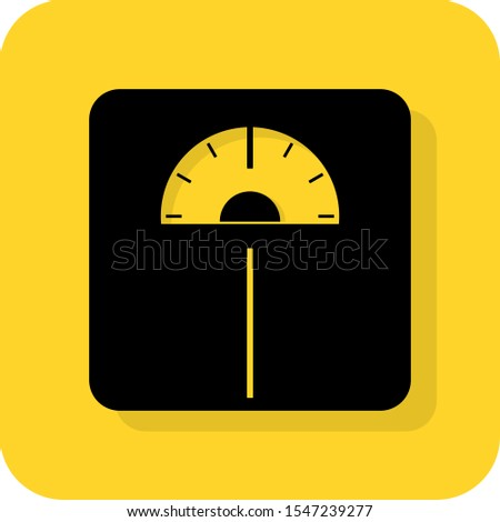 Body weighing balance sign. Mass weight test in kg or pounds on electronic scale. BMI measure. Flat 3D shadow design. yellow black vector. product brand service label banner board display. App icon.