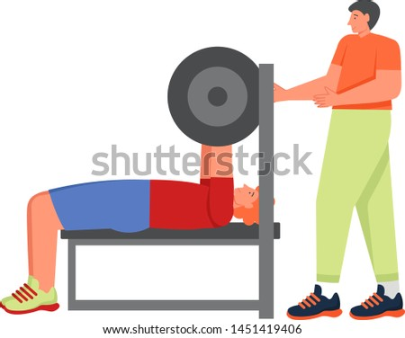 Bodybuilder doing bench press with barbell, vector flat illustration isolated on white background. Weightlifting, strength training, pumping iron, sports, barbell workout, bodybuilding.