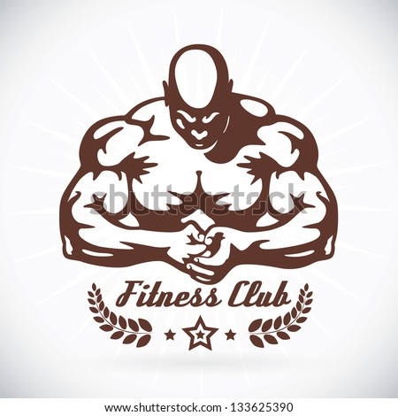 Bodybuilder Fitness Model Illustration, Sign, Symbol, Button, Badge, Icon, Logo for Family, Baby, Children, Teenager, People, Tattoo