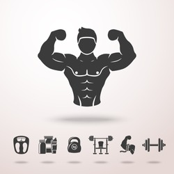 Bodybuilder icon with shadow, and set of icons - dumbbell, weight, bodybuilder, scales, gainer, shaker, measuring, barbell. Vector