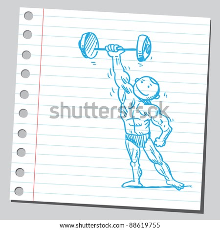 Bodybuilder lifting dumbell