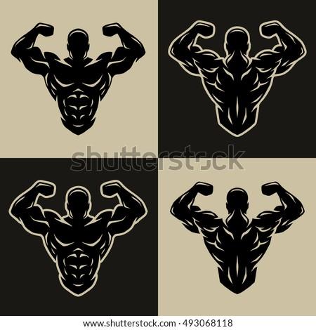 bodybuilder logo  symbol  two