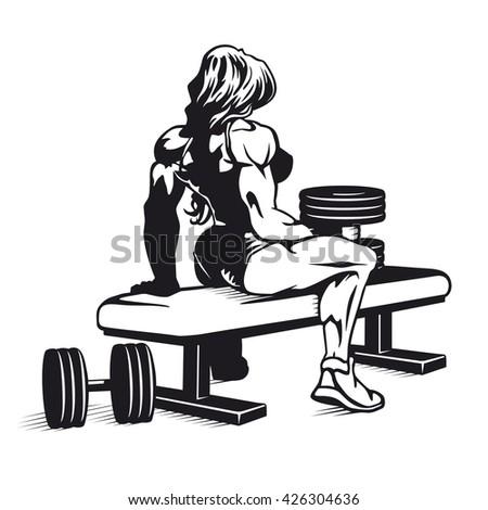 Bodybuilder woman with dumbbells vector image