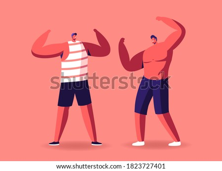 Bodybuilders Male Characters Posing Demonstrate Huge Muscles and Sportive Perfect Athletic Body Measuring Strength Make Presentation or Perform on Scene Competition. Cartoon People Vector Illustration Сток-фото ©