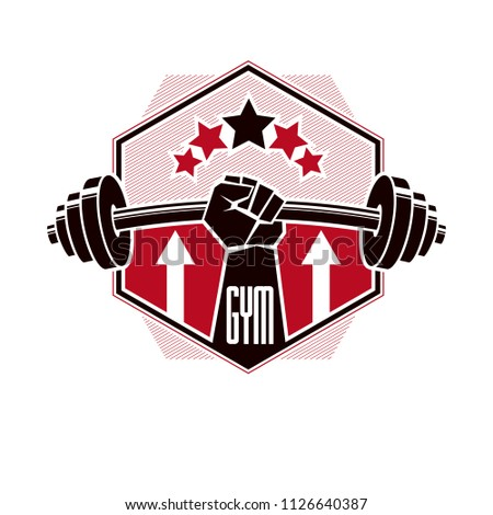Bodybuilding and fitness sport logo templates, retro style vector emblem. With barbell and strong hand fist.