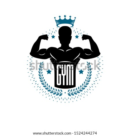 Bodybuilding and fitness sport logo templates, vintage style vector emblem. With bodybuilder silhouette.