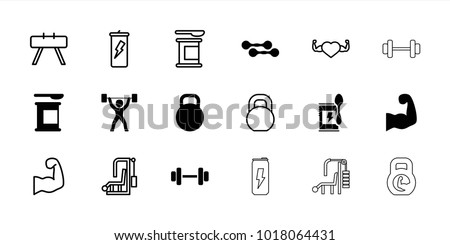 Bodybuilding icons. set of 18 editable filled and outline bodybuilding icons: protein powder, kettle, muscular arm, power lifter, fintess equipment, gym equipment