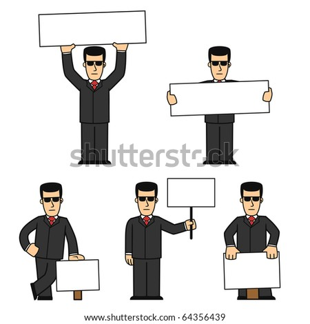 Bodyguard character set 01 - stock vector