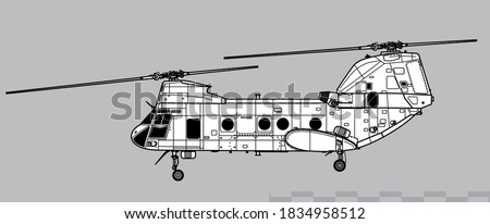 Boeing Vertol CH-46 Sea Knight. Vector drawing of navy transport helicopter. Side view. Image for illustration and infographics. stock photo