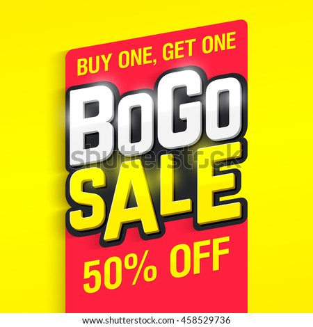 Bogo Sale, buy one, get one 50% off banner design template vector illustration