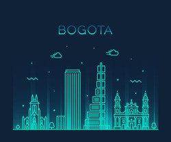 Bogota skyline, Colombia. Trendy vector illustration, linear style