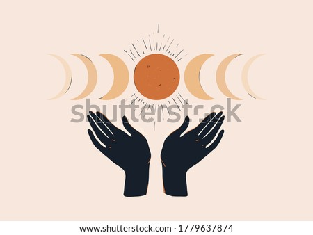 Bohemian aesthetic illustration with hands and moon phases. Minimalist print. Natural pastel colors.  Photo stock ©