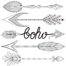 Bohemian Arrows set with henna feathers. Hand drawn zentangle elements for adult coloring page, art therapy, ethnic patterned t-shirt print, Boho chic tribal style. Doodle Illustration, tattoo design.