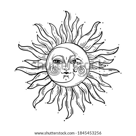 Bohemian hand drawing, esoteric sketch, engraving stylization. Sun and crescent moon with a face. Design for tattoo, astrology, sticker, tarot. Vector illustration isolated on white background
