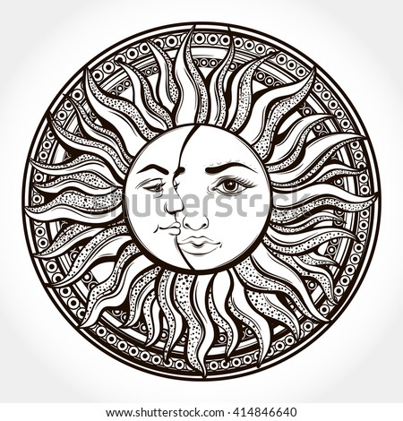 Bohemian hand drawn sun and moon. Tattoo design.Vector illustration. Alchemy symbol.