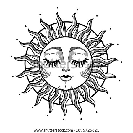 Bohemian illustration, stylized vintage design, sun with face and closed eyes, stylized drawing, tarot card. Mystical element for design, logo, tattoo. Vector illustration isolated on white background