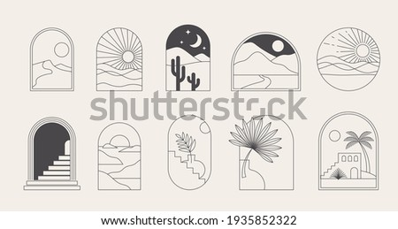Bohemian linear logos, icons and symbols, landscape, arcs and windows design templates, geometric abstract design elements for decoration.  Stock fotó ©