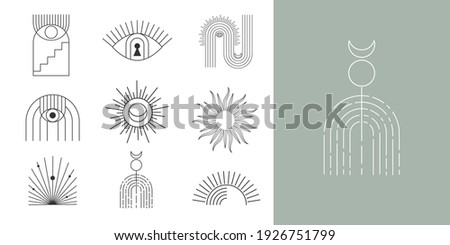 Bohemian linear logos, icons and symbols, sun design templates, geometric abstract design elements for decoration.