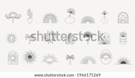 Bohemian linear logos, icons and symbols, sun, palms, landscapes design templates, geometric abstract design elements. Modern minimalist Boho style for social media posts, stories, art boutique