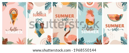 Bohemian Summer, set of modern summer sale story template designs with rainbow, flamingo, pineapple, ice cream and watermelon