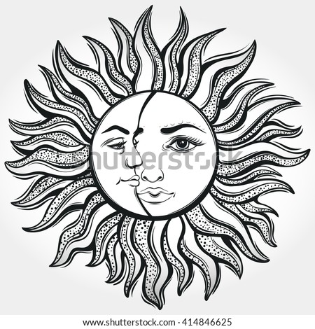 royalty free stock photos and images bohemian sun and moon tattoo design vector illustration. Black Bedroom Furniture Sets. Home Design Ideas