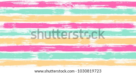 Bohemian watercolor brush stripes seamless pattern. Caramel pink, ice cream yellow and green paintbrush lines horizontal seamless texture for background. Hand drown paint strokes design artwork.
