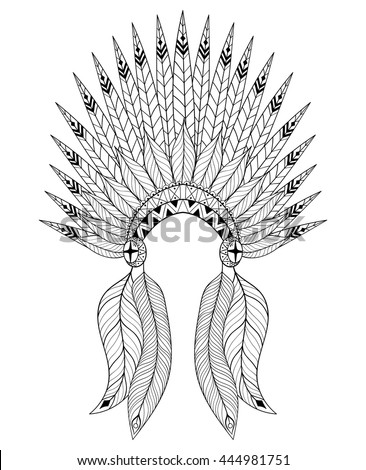 Bohemian Zentangle Vector War Bonnet With Feathers Decorative Headdresst For Adult Coloring Page Ethnic Native American Indian Headdress