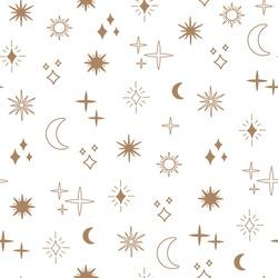 Boho astrology and star seamless pattern, magic celestial night concept, moon and sun objects, bohemian symbols. Gold line art, modern trendy vector illustration in doodle flat style, white background