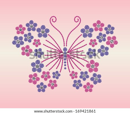 Boho Butterfly Embroidery Vector Illustration