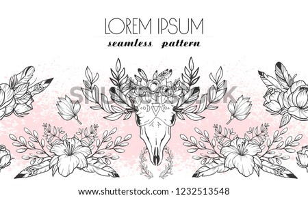 Boho chic horizontal seamless pattern with feathers, flowers and cow scull. Monochrome hand drawn ornament with place for text. Useable for wrapping, wallpaper, background on the web, fabric texture.