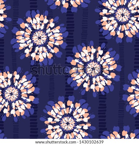 Boho Coral Tie-Dye Shibori Mirrored Sunburst Flowers on Indigo Striped Textured Background Vector Seamless Pattern. Perfect for Spring-Summer Textiles, Stationery