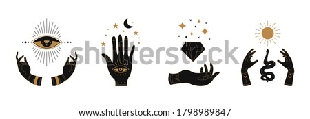 Boho doodle mystic hands. Hand drawn esoteric icons, simple feminine logo set with moon eye sun snake. Vector illustration. Photo stock ©