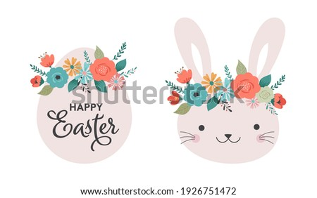Boho Easter concept design, Banner set with bunnies, eggs and flower crowns in pastel colors