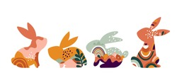 Boho Easter concept design, bunnies, eggs, flowers and rainbows in pastel and terracotta colors, flat vector illustrations