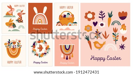 Boho Easter concept design, collection of greeting cards, bunnies, eggs, flowers and rainbows in pastel and terracotta colors, flat vector illustrations