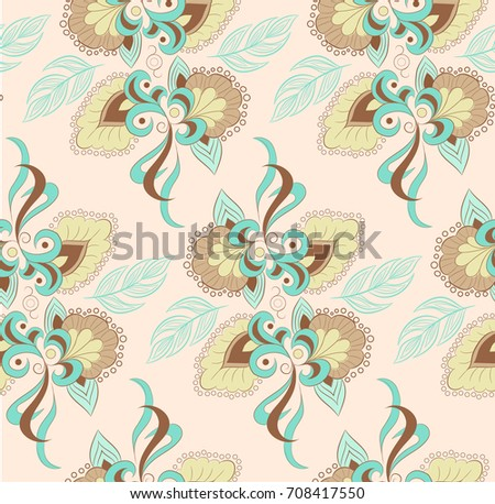 Boho Ethnic Traditional Ornament Floral Pattern