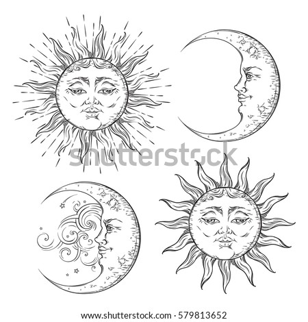 Boho flash tattoo design hand drawn art sun and crescent moon set. Antique style design vector isolated on white background